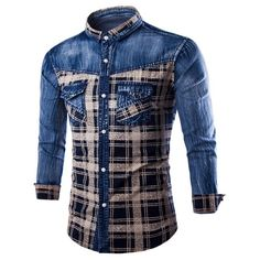 Casual Single Breasted Turn Down Collar Plaid Denim Shirt For Men