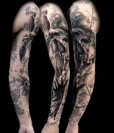 Fantasy Full Sleeve Tattoo - The tattoo is portrayed as A hand is to capture a flying bird, in dark fantasy style.