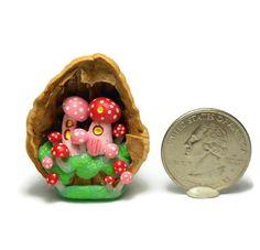 Micro Diorama Mushroom Fairy Village in Walnut Shell Handmade by N. Fox OOAK