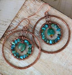 Artisan Turquoise Earrings Southwest Hammered Copper Double Hoop, Owl Hollow Studio