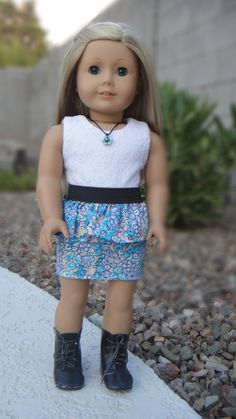 Skirt Made from my Peplum Skirt Tutorial using black elastic instead...  American Girl Doll Clothes  Pretty in Peplum by BuzzinBea on Etsy, $22.00