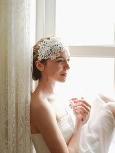 Lace wedding headband bridal headbandwedding by woomeeBridal