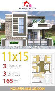 House design with 3 bedrooms Terrace roof - House Plans Single Floor House Design, Modern Small House Design, Modern House Floor Plans, Classic House Design, Simple House Design, Minimalist House Design, Small House Plans, House Outside Design, House Front Design