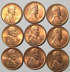 1959 Uncirculated Lincoln MS BU Red Cents - Lot of 9 coins - FIRST YEAR OF ISSUE