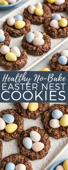 These Healthy No-Bake Chocolate Peanut Butter Easter Nest Cookies are made with only 8 good-for-you ingredients and ready in 15 minutes! They're the perfect treat to celebrate Easter! Gluten-free, dairy-free, refined-sugar free AND vegan! #easter #nestcookies #glutenfree #vegan #chocolate #peanutbutter #nobake #cookies #dessert
