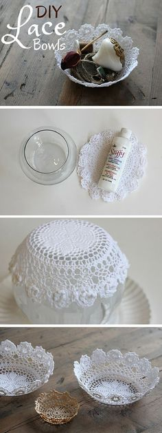 Check out the tutorial: #DIY Lace Bowls #crafts