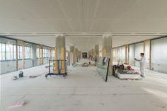 Die Räumlichkeiten des Coworking-Space AXIS Linz im Aufbau.