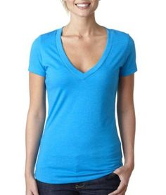 Next Level Women's Deep V-Neck T-Shirt, Turquoise, Smal