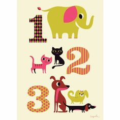 Omm Design Ingela Arrhenius 123 Poster: It's always useful to know your 1 2 3's as well as your A B C's, and Ingela Arrhenius's fun poster will start the learning process and brighten the nursery wall.