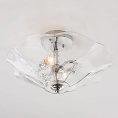 Clearly Colorful Ruffled Glass Ceiling Light clear
