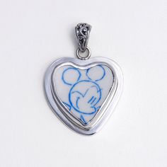 Broken China Jewelry Blue Mickey Mouse Sterling Pendant on Etsy, $78.00