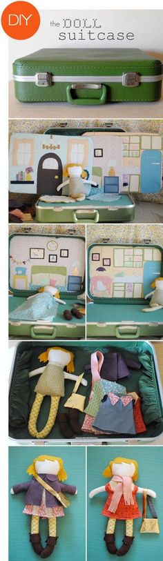 DIY doll suit case. Oh my god, this is the cutest.