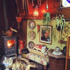 Narrowboat interior and ships cat :-) Canal Boat Interior, Narrowboat Interiors, House Interiors, Houseboat Living, Living On A Boat, Bohemian Interior, Bohemian Bedrooms, Floating House, My Dream Home