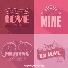 Decorative love badges in purple tones Free Vector