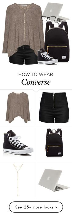 """""""Study Buddy"""" by apachegal on Polyvore featuring Love Moschino, Herschel Supply Co., Fragments, Converse, Tucano and Bottega Veneta"""