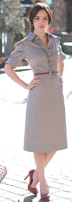 """Victoria"" Modest Dress in Slate $59.99 http://www.jenclothing.com/mi-4006-slate-ruffle-spring.html"