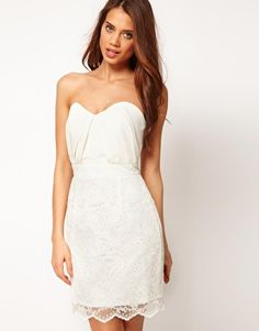 Enlarge ASOS Bandeau Dress with Lace Skirt