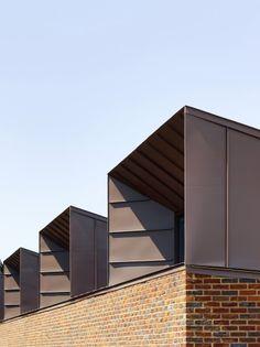 Ravens Way housing by Bell Phillips Architects - bank view cladding Zinc Cladding, Brick Cladding, Exterior Cladding, Brickwork, Dormer Roof, Dormer Windows, Metal Facade, Metal Roof, Building Exterior