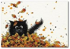 Black Cat Falling Autumn Leaves - ArT BiHrLe LE Print ACEO