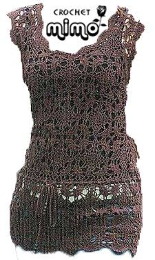 Brown Sleeveless Top with Square Motif Pattern free crochet graph pattern