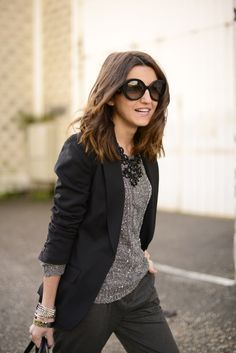 love the sweater and statement necklace under the blazer
