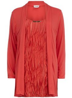 Coral 2 in 1 Cardigan with frill top attached and long sleeve.