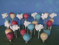 Hot Air Balloons and Puffy Clouds cake pops, lemon cake/vanilla ABC/white bark, MMF and piped candy adornments, 4/6/8 lollipop sticks