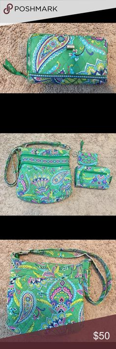 Vera Bradley Emerald Paisley Triple Zipster 3pcset Retired Emerald Paisley Triple Zipster, Turnlock wallet & Zip ID case. Moderate wear on the corners & strap of the Hipster & wallet. There is also a small hole (not noticeable) on the Hipster. Still plenty of use left. I have pictures of every area of wear. Zip ID:  EUC. Vera Bradley Bags Crossbody Bags