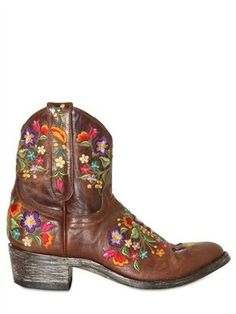 ShopStyle: Mexicana - 40mm Leather Embroidered Floral Boots
