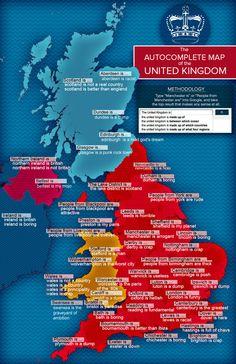 """The Autocomplete Map Of The United Kingdom. What happens when you type """"[City Name] is …"""" into Google UK? Well, it's mostly a bit critical, to be honest, but at least Reading is fundamental."""