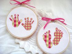baby hand print, baby foot print, nursery wall hanging, nursery decor, hoop art, cross stitch