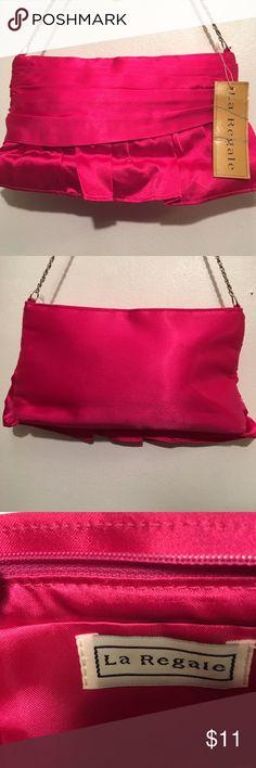 "Pink Satin La Regale Clutch BNWT!  Pink Satin Clutch with 16""silver chain. La Regale Bags Clutches & Wristlets"