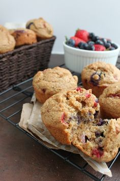Whole Wheat Berry Bran Muffins - A perfect morning breakfast on the go - full of healthy ingredients and sure to please the whole family | www.happyfoodhealthylife.com