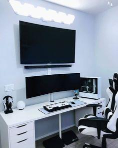 Gaming Computer Setup, Best Gaming Setup, Gaming Room Setup, Pc Setup, Gaming Rooms, Computer Desks, Small Game Rooms, Bedroom Setup, Men Bedroom