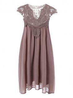 Plus Size Lace Chiffon Dress COFFEE: Casual Dresses | ZAFUL