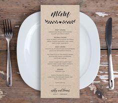 Printable Menu Card Template Rustic Wedding by MintyPaperieShop