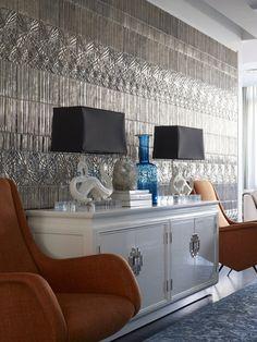 Metallic walls, sophisticated fun decor - Johnathan Adler - Parker Residence, New York