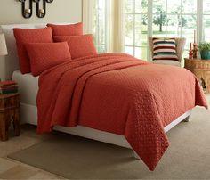 Fillmore Bed Set One's Nest Orange Textured Luxury Custom Quilted Earthtone Burnt