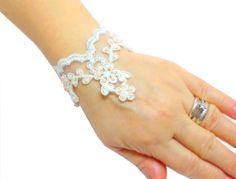 Lace Bridal Bracelet White 9 Bridal Wrist Cuff FREE by HAREMDESIGN, $35.00