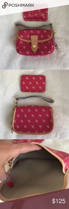 Dooney & Bourke Wristlet and Matching ID Holder  % AUTHENTIC❤️ cranberry color, very good condition as seen in photos❤️measures 6x4❤️ Dooney & Bourke Bags Clutches & Wristlets