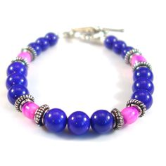 Women's Pink and Purple with Silver Beaded Bracelet by DungleBees on Etsy