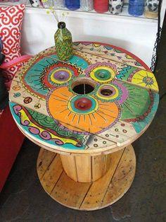Malovaná dřevěná cívka DIY