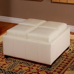 York Bonded Leather Ivory Storage Ottoman Bench | Modern Ottoman, White  Furniture And Mudroom