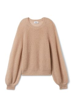 <p>Joni Sweater is a slouchy knit piece in a soft <strong>mohair</strong> blend. It has a spacious fit with a ring neck, gathered raglan sleeves and ribbed