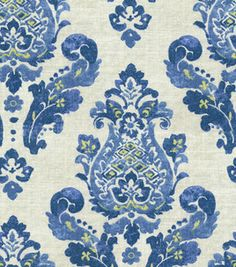 blue & white paisley & damask trio for bedroom wall of Home Decor Print Fabric-Waverly Gypsy Charm/Ceramic Waverly Bedding, Waverly Fabric, Waverly Wallpaper, Fabric Wallpaper, Wallpaper Decor, Blue And White Fabric, Blue Fabric, Paisley, Textiles