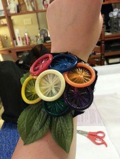 Condom corsage for a bachelorette party!