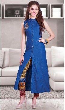 Blue Color Denim Achkan Designer Readymade Salwar Kameez   FH513078117 #salwar, #kameez, #readymade, #anarkali, #patiala, #pakistani, #suits, #online, #stitched, #indian, #dress, #material, #shopping, #fashion, #boutique, #mode, @heenastyle , #designer , #pakistani , #evening , #wedding , #casual , #palazzo , #patiyala , #punjabi , #churidar , #narrow
