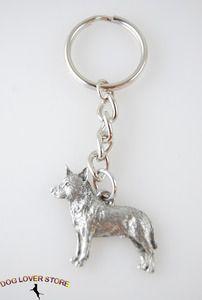 Australian Cattle Dog Dog Fine Pewter Silver Key Chain Ring