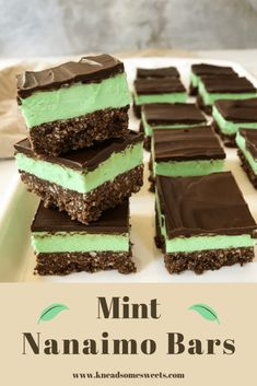 Mint Nanaimo Bars Recipe - Knead Some Sweets - - These Mint Nanaimo Bars are a delightful twist on classic Nanaimo Bars! They are chocolatey, minty, and a whole lot of yummy! Chocolate Cookie Bars, Chocolate Graham Crackers, Chocolate Muffins, Chocolate Desserts, Nanaimo Bars, Instant Pudding, Irish Cream, Over The Top, Sweets Recipes