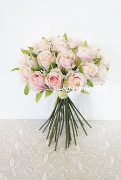 Sweet Home Deco 9'' Silk Lovely Rose Buds Flower Bouquet (26 Flower Heads) for Wedding/Home/Craft Flowers (Blush) -- Click image to review more details.